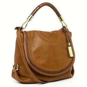 SKORPIOS Michael Kors Walnut Leather Flap Hobo Bag